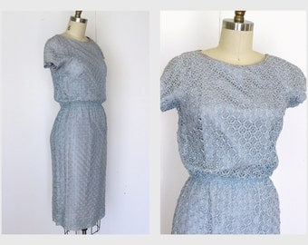Vintage 1960s Dress  60s Ribbon Dress  Blue Wiggle Dress Sz M