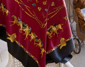 Vintage Wine Equestrian Satin Scarf/ Horse Race Scarf/ Preppy Horse Scarf/ Autism Awareness