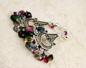 Chandelier Earrings, Dangle Earrings, Gemstone Earrings, Silver Earrings, Tourmaline Earrings