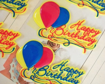 Happy Birthday / Cake Topper / Script / Balloons / Six Items / Hard Plastic / Red / Yellow and Blue / Altered Art / Cardmaking / Gift Tags