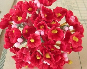 Forget Me Nots / Vintage Millinery / Red / One Small Bouquet