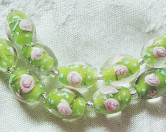 Lampwork Glass Beads, Lt. Green with Pink Flower, 16mm, 5 beads