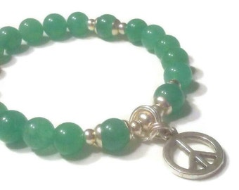 Green aventurine peace charm beaded bracelet
