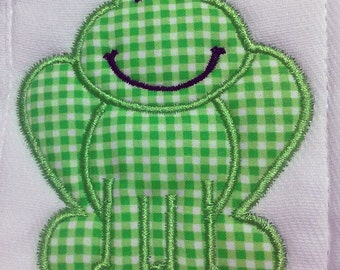Frog Burp Cloth can be personalized