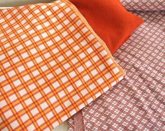 Free Shipping Lot of 3 coordinating Double Knit Polyester Fabric s Plaid Solid Orange Brown