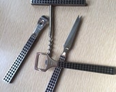 Mid Century Modern Playboy Barware Implements-Corkscrew-Bottle Opener-Cheese Knife-Silver and Black Checked Bar Tools