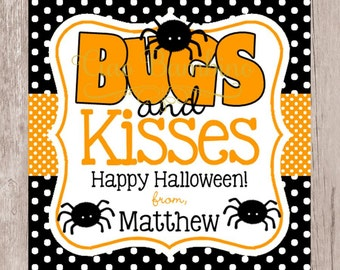 PRINTABLE Halloween Bugs and Kisses Tags / Halloween Spider Tags Personalized with Name / Orange & Black / You Print