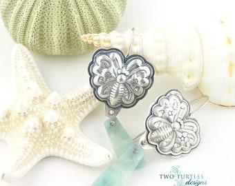 Two Turtles Designs ~Butterfly Kisses~ Silver & Blue Quartz Earrings