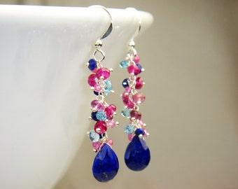 Lapis, Swiss Blue Topaz, Sapphire and Pink Topaz Earrings