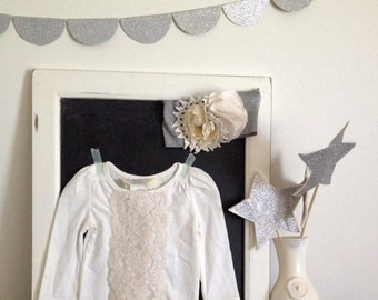 Cottage chic, Boho Ivory w/ vintage lace girls top. LAST ONE! In stock. Ready to ship.