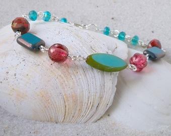 Glass Beaded Jewelry - Glass Bead Bracelet - Turquoise, Teal and Orange Bracelet - Orange, Teal, and Turquoise Bracelet - Retro Bracelet