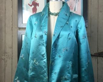 On sale 1940s jacket Asian jacket 40s jacket silk jacket size medium Vintage jacket cropped coat teal swing jacket
