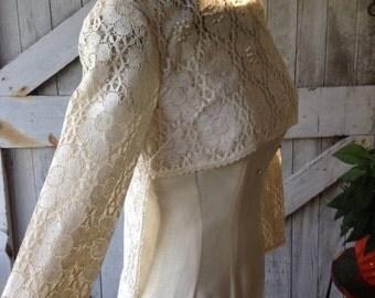 1960s dress crochet dress lace topper 60s dress mod dress open front dress topper size small Vintage dress ivory blouse wedding dress