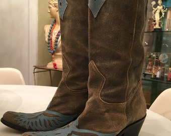 Suede cowboy boots size 7 grey vintage boots western boots distressed womans boots
