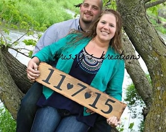 Large wood Wedding or Engagement Wooden Sign Rustic Country Save the Date Personalized Bride Groom Photo Prop for Pictures Barn Weddings