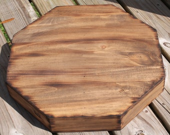 """Rustic Wedding Wooden Cake Stand 16"""" Octagon Riser round Base woodland Barn Wood Country Rustic Cake stand for cake or cupcake"""