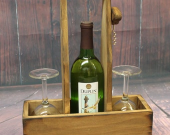 Rustic Wood Wine Caddy Wooden wine bottle and glasses holder Carrier Tote with opener corkscrew House warming Wedding Gift Country