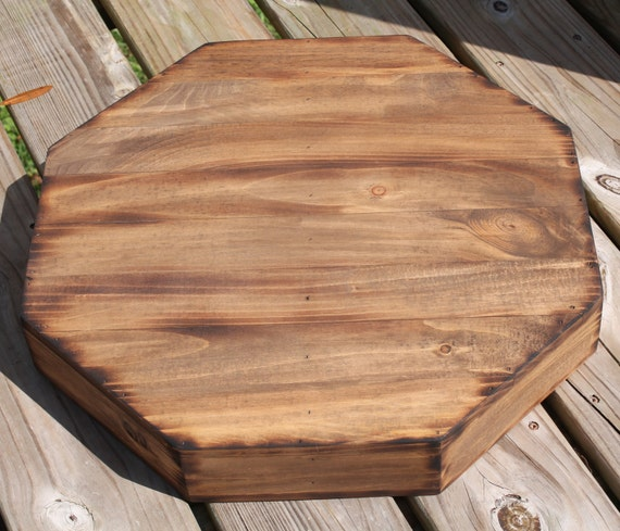 Rustic Wedding Wood Cake Stand: Rustic Wedding Wooden Cake Stand 14 1/2 Octagon Riser