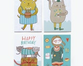 Postcard Set #2 - Birthdays, Cats and a Happy Girl