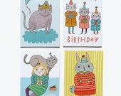 Postcard Set #3 - Bunny, Cats and Birthdays