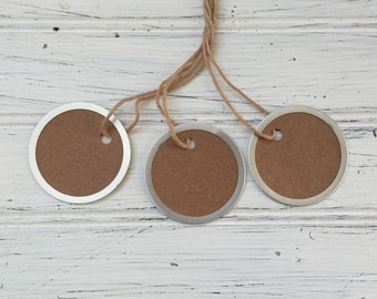 Metal Rim Tags, Medium Size Rustic Kraft Round Tags, 12 Country Tags, 1 9/16 inch tags, Blank Round tags, Mason Jar tags, M01