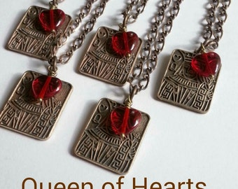 Queen of Hearts Necklace,Card party Gift, Poker Party, Girls night Out