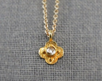18kt Gold with White Old Mine Cut Diamond Mini Luck Necklace