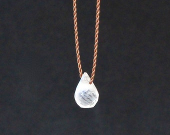Rainbow Moonstone Necklace/Handmade Jewelry/Cord Necklace/Simple Elegant Jewelry