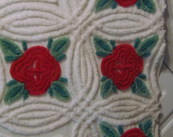 "Vintage Chenille Bedspread 45"" x 15.5"" X 30.5"" x 47.5"" Cotton  Fabric Red Flowers sewbuzyb"
