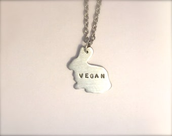 Vegan Necklace-Vegan Jewelry-Mini Vegan Bunny Necklace- Eco Friendly-Recycled Metals