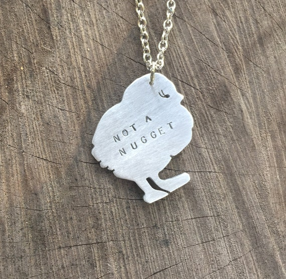 Vegan-Not a Nugget Chick Necklace-Chicken Necklace-Gift-Birthday-Anniversary-Ethical Jewelry-Farm Animals-Eco Friendly-Chicken Lover