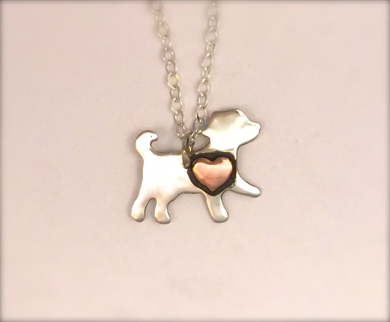 Vegan Necklace- Vegan Jewelry -Mini Dog with Copper Heart Eco Friendly  Necklace-Recycled Metals