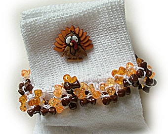Kathy's Beaded Socks - Thanksgiving Turkey socks, holiday socks, orange socks, brown socks, tri bead socks, button socks