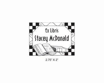 Checkerboard Tile Border Ex Libris Bookplate Rubber Stamp O19