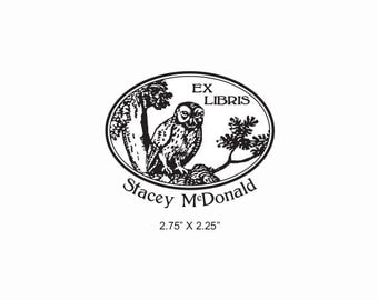 Vintage Owl in a Tree Custom Ex Libris Bookplate Rubber Stamp O17