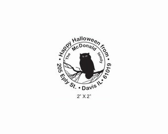 Vintage Halloween Owl in a Tree Custom Return Address Rubber Stamp AD381