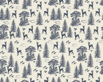 Woodland Spring - Fabric By Dani - For Riley Blake - Friends - Navy - 9.95 A Yard