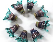 Handmade Lampwork bead glass - Lampwork beads set - Thimble Bell Beads, multicolor, purple, teal (8) SRA