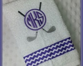Golf Towel Personalized with Crossed Golf Clubs and Purple Monogram Chevron