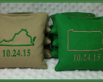 Cornhole Bags Set of 8 Tan and Kelly Green State Outline and Date
