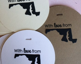 Maryland state with love tags handmade wedding thank you gift party packaging