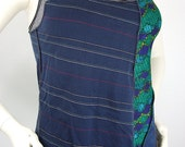 Ladies Medium Tank Top Upcycled Yoga Tank Navy Blue and Kelly Green Tank Top