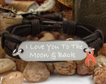 RO-1 MS Awareness Kidney Cancer Jewelry Leukemia RSD Multiple Sclerosis Gift Leather Bracelet I love you to the Moon & Back