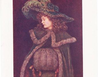 Vintage Kate Greenaway Book Plate Art Print - The Peacock Girl