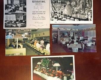5 Vintage Postcards of Restaurants - Calif Florida Switzerland