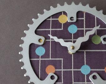 Bicycle Gear Clock - Modern Gumdrops in Purple | Bike Clock | Wall Clock | Recycled Bike Parts Clock