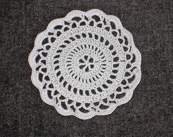 "New Handmade Crocheted ""Elegance"" Coaster/Doily in Silver"