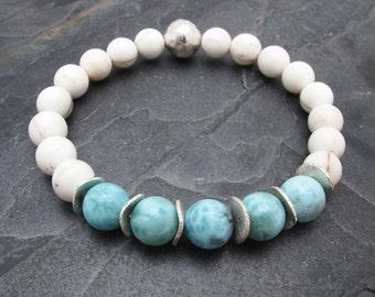 Larimar bracelet, conch shell bracelet, aqua gemstone bracelet, stretch bracelet, stacking bracelet, gift for wife, white shell bracelet
