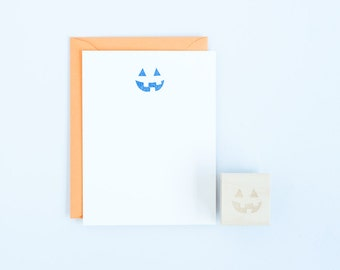 Jack O' Lantern Face Rubber Stamp Halloween Spooky Crafts