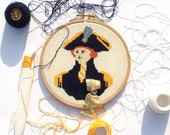 British Captain cross stitch portrait